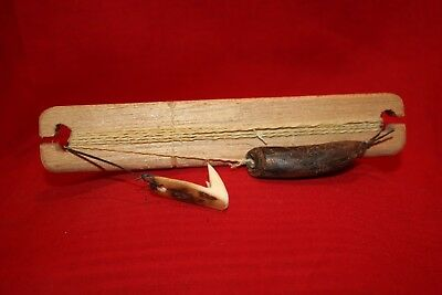 Vintage Eskimo Inuit Tomcod Jig with Ancient weight and hook