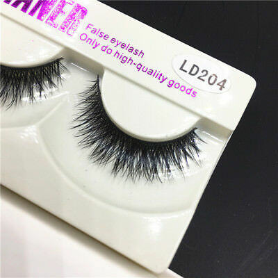 1Pair Luxury Real Mink Natural Soft Thick False Eyelashes Eye Lash Extension fr