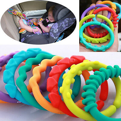 Rainbow Teether Ring Links Plastic Baby Infant Stroller Gym Play Mat Toys Kids