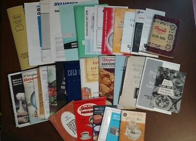 Lot of 36 Vintage Appliance Manuals Sunbeam Presto GE Kenmore Quasar 1933-1987