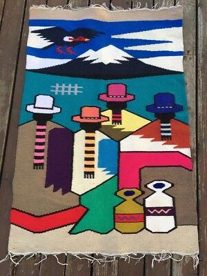 """Vintage Native American Hand Woven Pictorial Rug  38"""" by 26.5"""""""