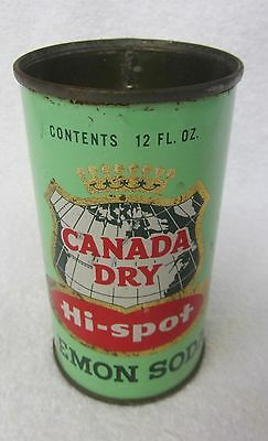 Vintage Canada Dry HI-SPOT LEMON SODA CAN Straight Steel Orig Flat Top removed