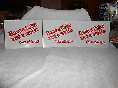 Coca-Cola Lot 3 Vinyl Decals or Stickers 1980's Have a Coke & a Smile