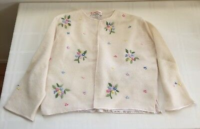 Vintage Flowerdrum Cream Cardigan, Embroidered Flowers & Pearls - Size S/M?