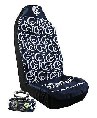 OFFICIAL AFL CAR SEAT COVERS x 2 - CARLTON - FITS 2 BUCKET SEATS