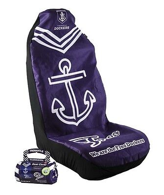 OFFICIAL AFL CAR SEAT COVERS x 2- FREMANTLE- FITS 2 BUCKET SEATS