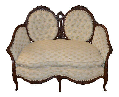 Vintage Carved Walnut French Style Loveseat / Settee w/Tufted Back