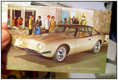 1963 Studebaker Avanti orig advertising post card color Frost French dealer L.A.