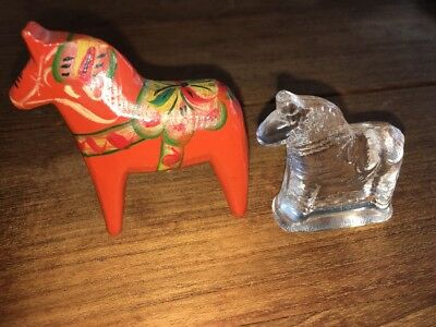 2 Swedish DALA Horses One Wooden Folk Art Red Hand Painted Nils Olsson One Glass