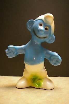 "Vintage 1980's Smurfs Smurf Hand Painted 12.5"" Tall Ceramic Bank"