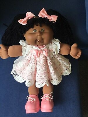 Cabbage Patch Kid Doll Dress Set. Pink/white Crochet Lace