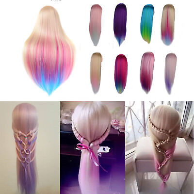 Hairdressing Colorful Long Hair Mannequin Doll Training Practice Head + UK