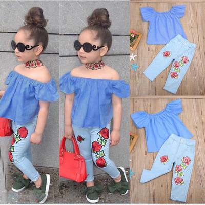Kids Baby Girl Outfit Off Shoulder Shirt T-shirt Tops+Long Pants Jeans Clothes