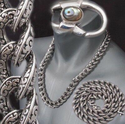 Huge Heavy Tribal Curb 925 Sterling Silver Mens Biker Necklace Chain 20 - 30""