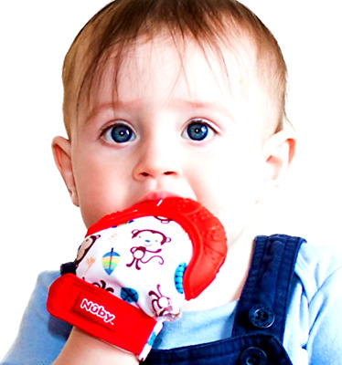 Baby Teething Nuby Soothing Toy Mitten Chewing Glove Gum Pain Hygienic Bag