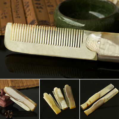 OX Horn Folding Beard and Moustache Comb Hand Carved Natural Anti Static Travel