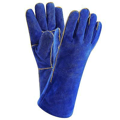Blue 14 Inch Welding Gloves BBQ Heat Resistant Lined Leather for Mig Tig Welders