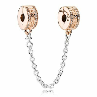 Authentic Pandora Rose Gold Insignia Safety Chain 782057CZ Charm