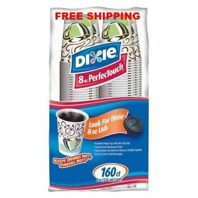 Dixie 8 oz PerfecTouch Insulated Paper Hot Cold Coffee Haze Cup - 160 Cups New