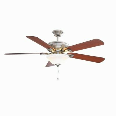 New hampton bay carriage house 52 in indoor brushed nickel hampton bay rothley indoor brushed nickel ceiling fan with light kit 52 inch mozeypictures Images