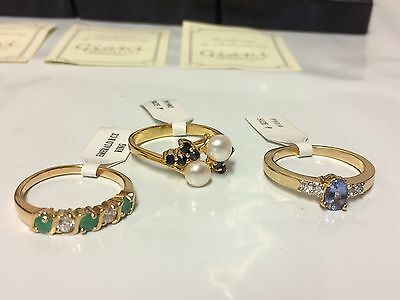 3 X gold plated Womens Ladies Rings all SIZE P By giani Jewellery