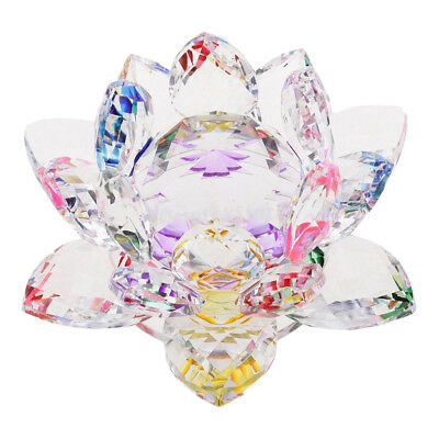 Crystal Lotus Flower Crafts Paperweights Glass Model Feng Shui Decor Multi
