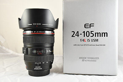 CANON EF 24-105 mm F4 L IS USM zoom lens -USATO- completo di paraluce EW-83H