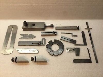 16 Piece Lot Machinist Tool & Die Makers Gages Tools Squares Etc.