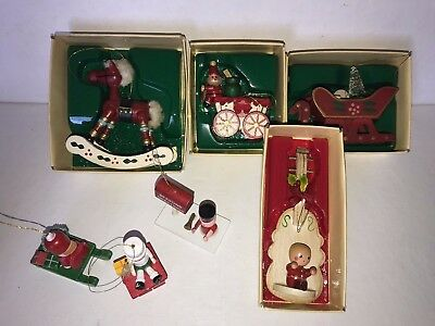 Vintage Russ Country Antique Ornament Christmas Lot of 7 Wood Rocking Horse