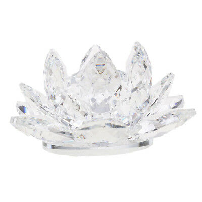 Crystal Lotus Flower Crafts Paperweights Glass Model Feng Shui Decor Clear