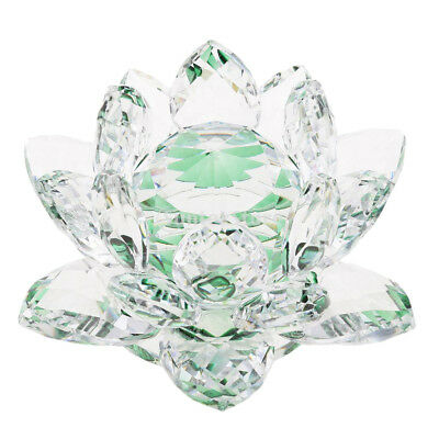 Crystal Lotus Flowers Crafts Paperweights Buddhist Feng Shui Ornaments Green