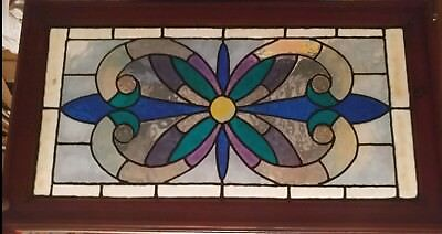 """Antique Stained Leaded Glass Transom Window 41×14""""reframed ?? Circa 1890 ??"""