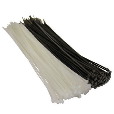 500 BLACK OR WHITE CABLE TIES, 100mm 140mm 200mm 300mm 370mm