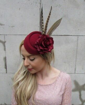 Burgundy Wine Red Pheasant Flower Feather Pillbox Hat Hair Clip Fascinator 5492