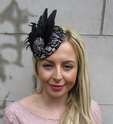 Black Nude Beige Silver Feather Hat Fascinator Headpiece Races Wedding Lace 5493