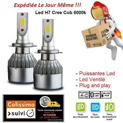 Kit Led Cree H7 6000K Xenon Hid Cob Ampoule Ventile Puissant Feux Phare Tuning