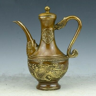 Old Chinese brass hand-carved fine Lucky Dragon Teapot Winepot Town house