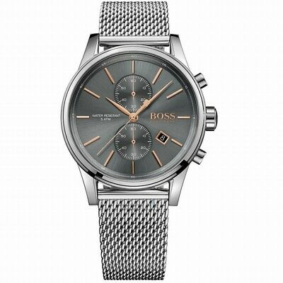 New HUGO BOSS HB 1513440 Mens Watch Jet Silver stainless Gray HB 1513440