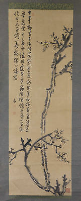 "JAPANESE HANGING SCROLL ART Painting ""Plum blossoms"" Asian antique  #E1217"