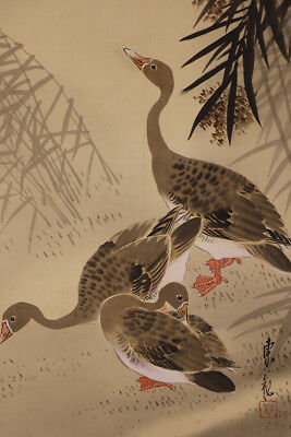 "JAPANESE HANGING SCROLL ART Painting ""Goose"" Asian antique  #E1220"