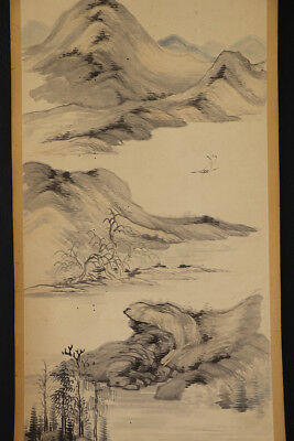 "JAPANESE HANGING SCROLL ART Painting Scenery ""Coast"" Asian antique  #E1224"