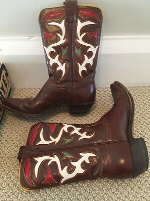 Vintage 1940s/50s FRYE Shortie Cowboy Boots w White Red Green Inlay 7.5 N w Box