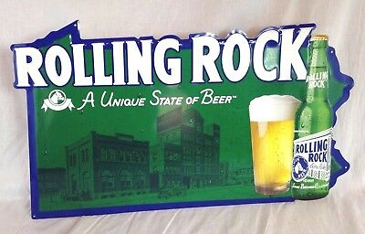 "Rolling Rock Metal Beer Sign 1999, A Unique State of Beer  25"" X 14 1/2"""