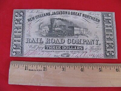 1861 New Orleans, Jackson & Great Northern Rail Road   $3