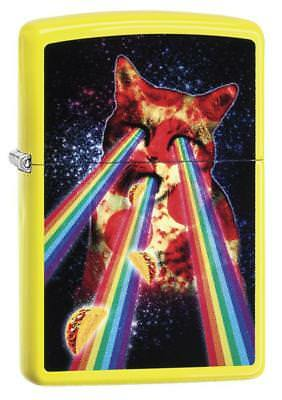 Zippo 29614, Pizza Cat-Rainbow, Neon Yellow Finish Lighter, Full Size