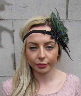 Black Green Peacock Feather Headpiece 1920s Headband Flapper Great Gatsby 5495