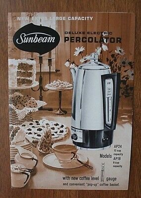 Sunbeam Deluxe Electric Percolator Four Page Ad/Instruction Booklet