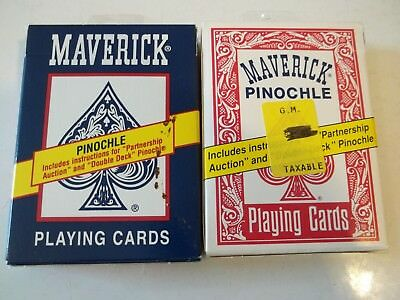 2 Packs Of Nos Vintage Maverick Pinochle No.1215 Playing Cards Red&blue