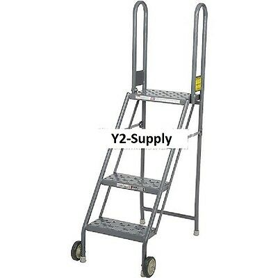 NEW! 4 Step Folding Rolling Ladder Stand - Perforated Tread!!