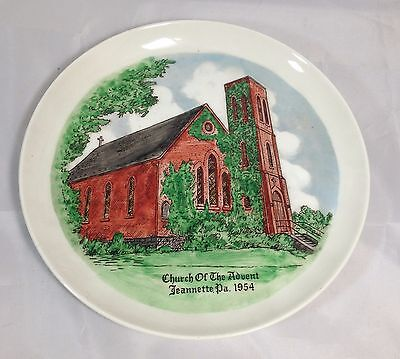 Collector Plate Church of the Advent Jeannette Pennsylvania 1954 Full Color EUC
